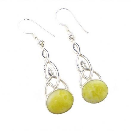Scottish Green Marble Celtic Trinity Earrings Large HE7
